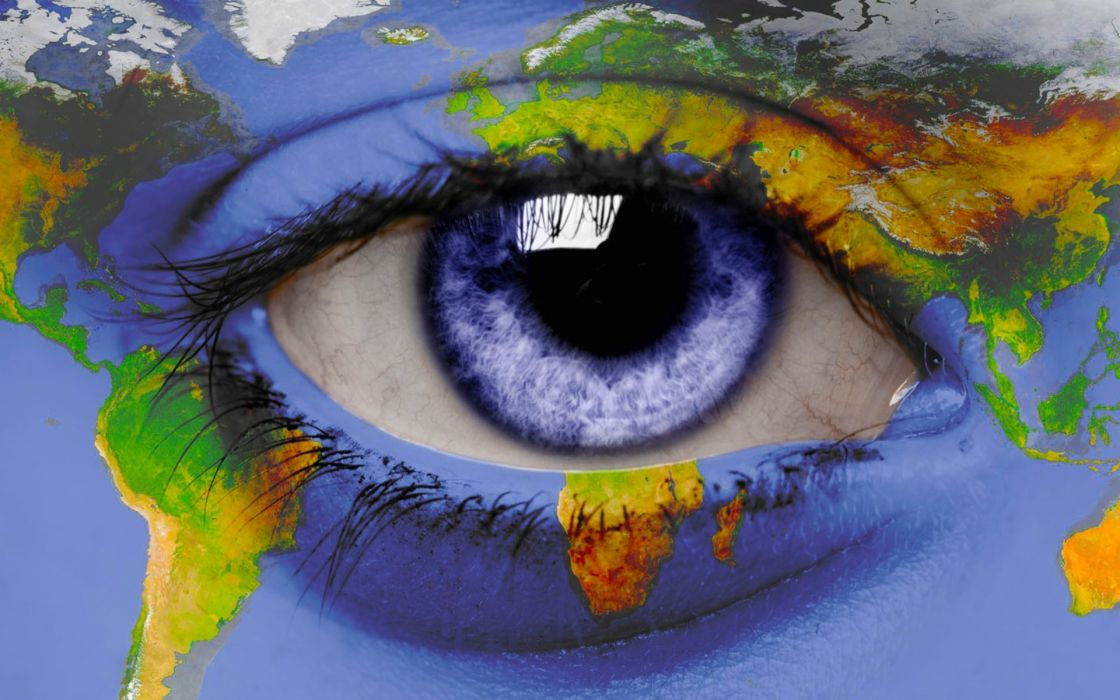 Eyes world blue eyes earth maps artwork photomanipulations wallpaper