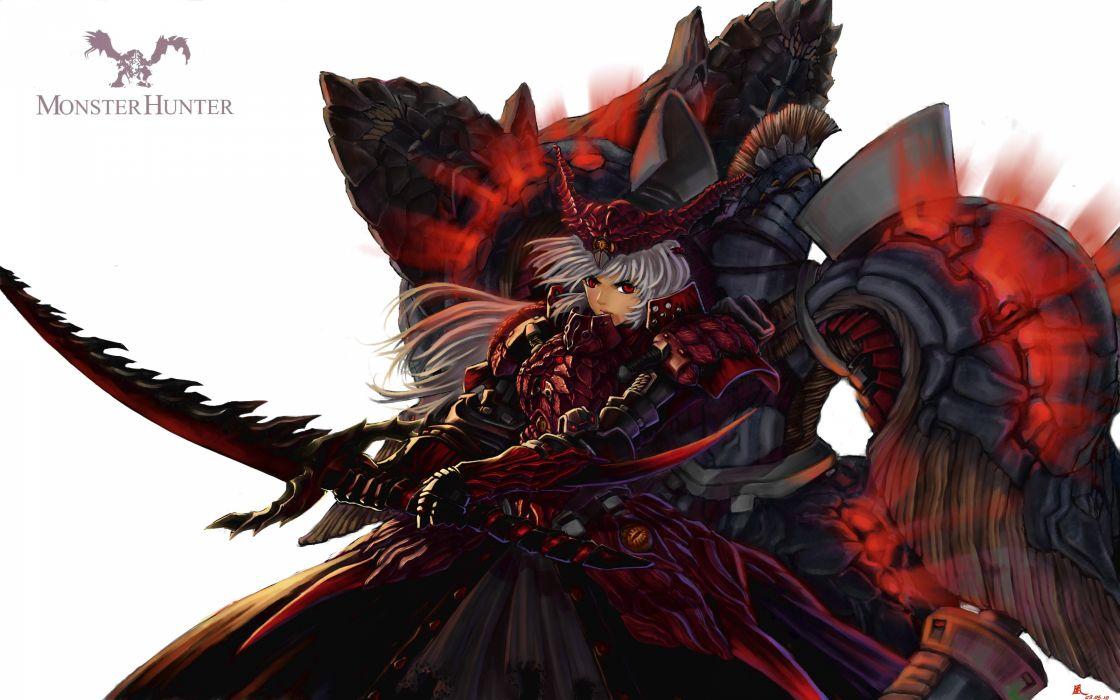 Fantasy video games weapons monster hunter armor red eyes artwork anime girls swords wallpaper