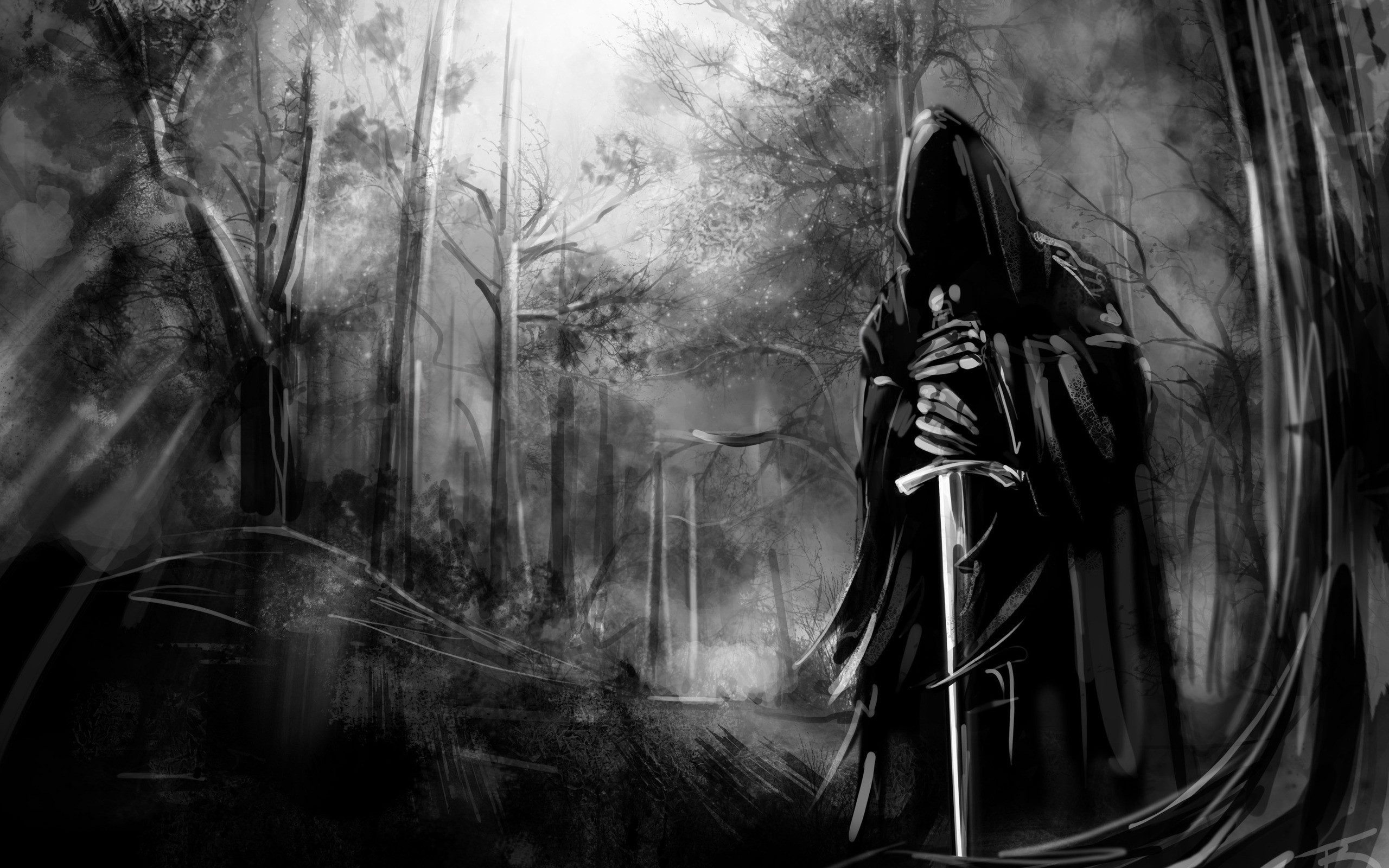 Black and white death forest gothic swords wallpaper | 2560x1600 | 10932 |  WallpaperUP