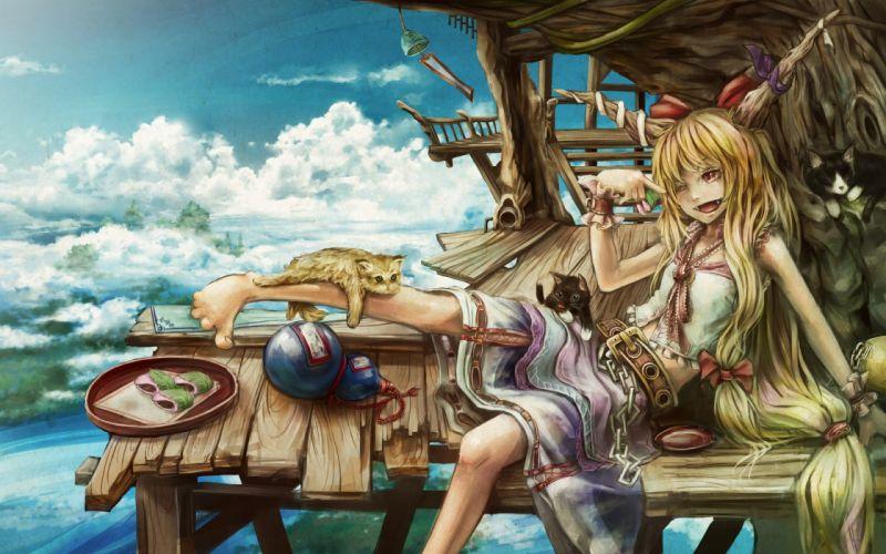 Blondes clouds touhou cats food demons houses skirts horns long hair belts oni red eyes bows sitting drunk chains demon girl sake wink cuffs skyscapes ibuki suika sakazuki wallpaper