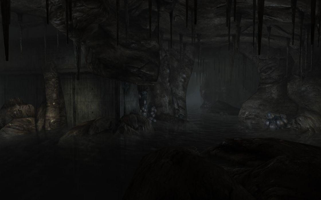 3D view dark underground rivers fallout 3 wallpaper