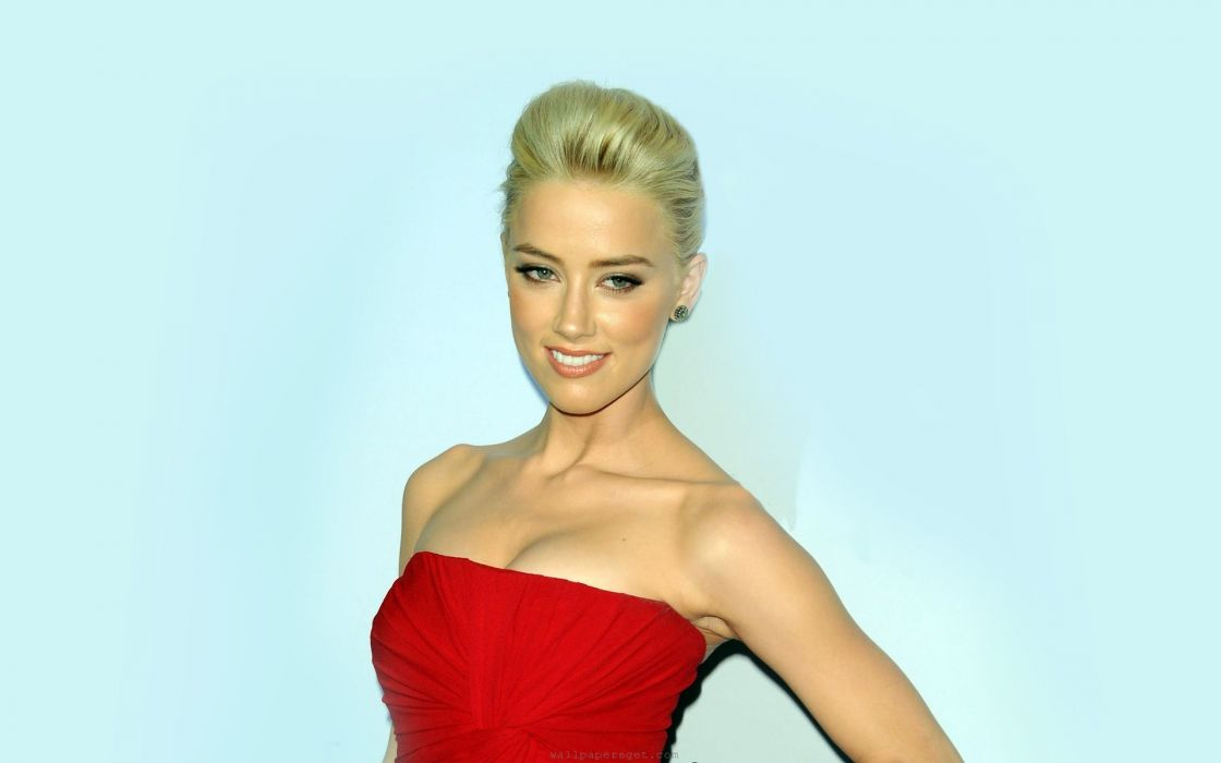 Women red dress actress fashion usa amber heard dressed wallpaper