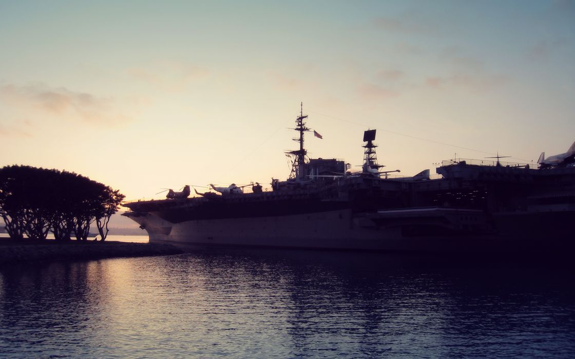 Sunrise landscapes san diego vehicles aircraft carriers wallpaper