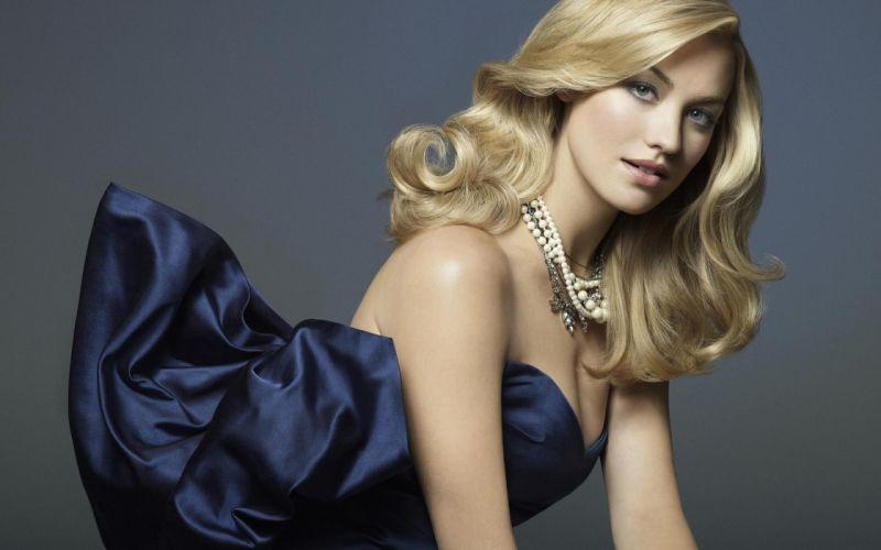 Blondes women fashion yvonne strahovski blue dress wallpaper