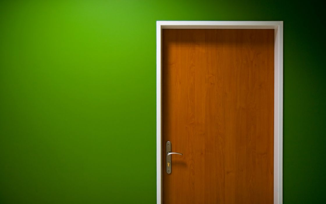 Green 3d view wall interior simple doors wallpaper