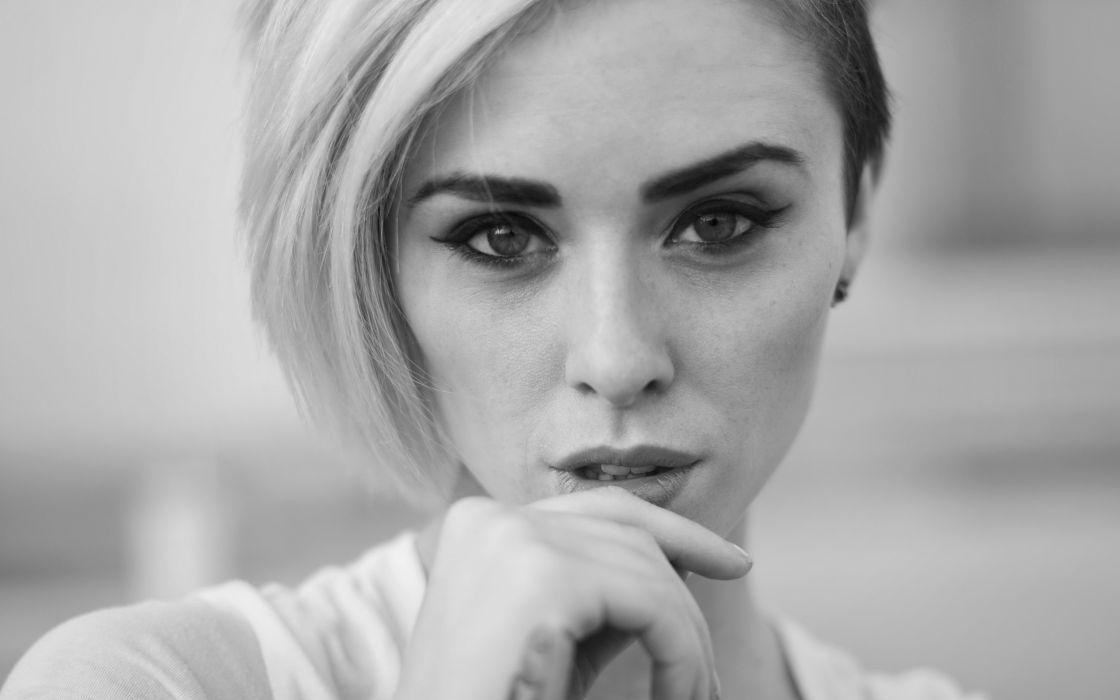 Blondes women models grayscale monochrome faces alysha nett wallpaper