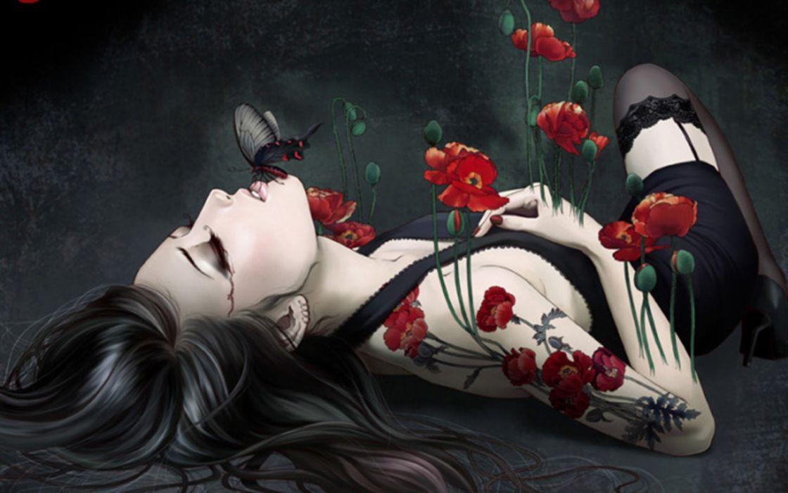 Women red flowers stockings poppy wallpaper
