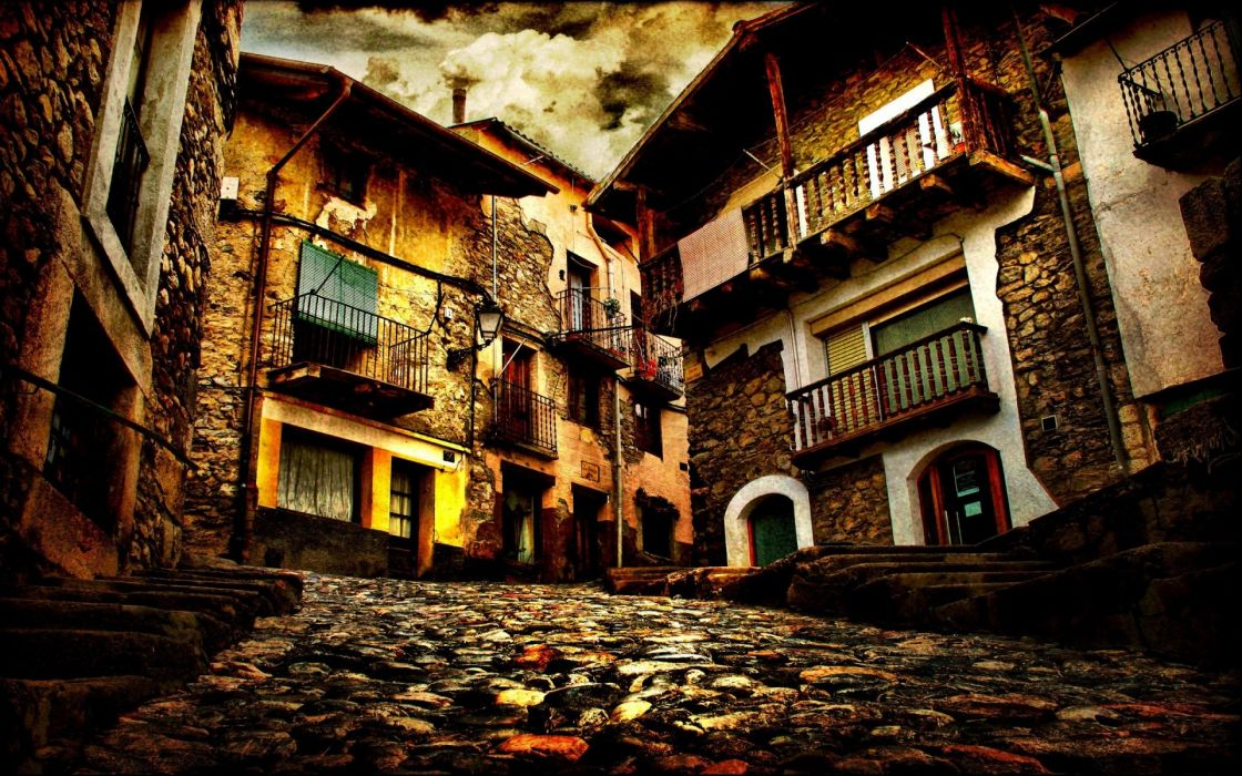 Cityscapes old roads hdr photography house wallpaper