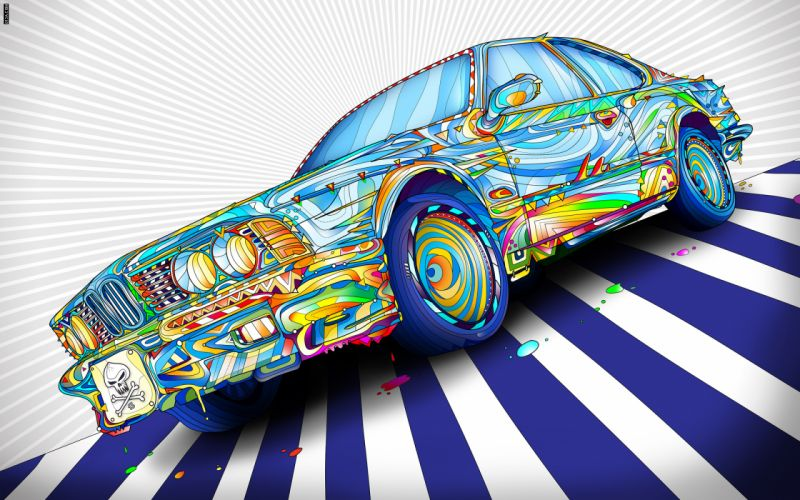 Bmw cars vivid colors fan art wallpaper