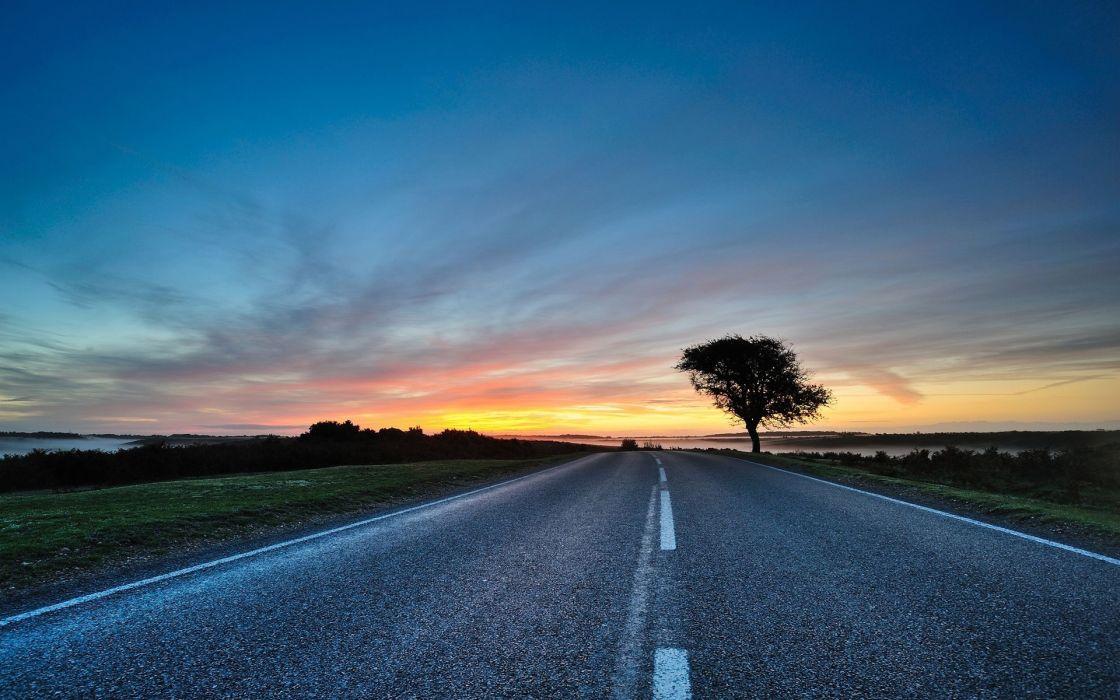 Sunset landscapes roads wallpaper