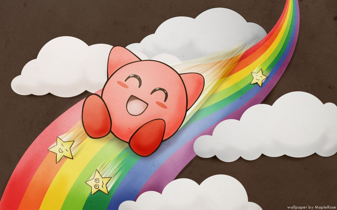 Kirby clouds rainbows wallpaper
