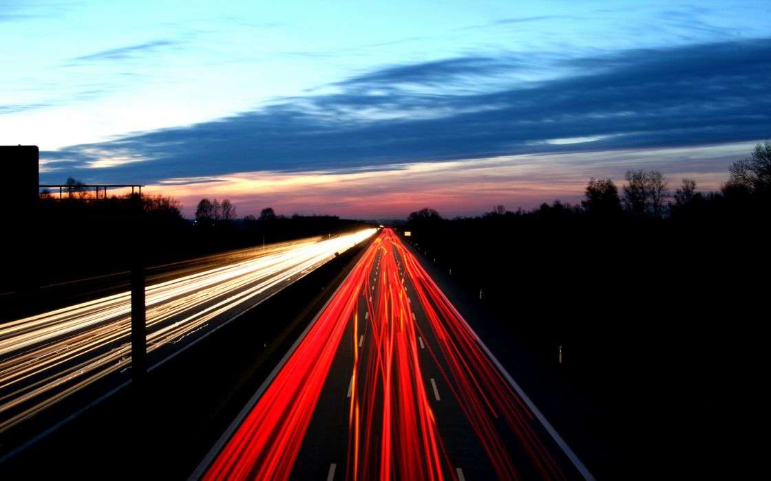 Night lights cars roads wallpaper