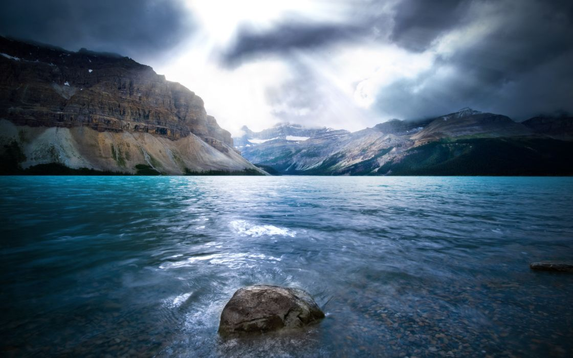 Water mountains clouds landscapes wallpaper