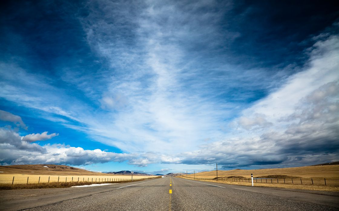 Clouds landscapes nature highway roads skyscapes blue skies wallpaper