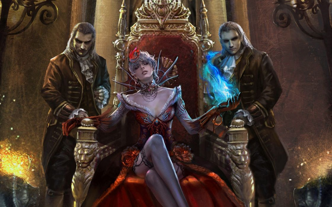Women stockings fantasy art vampires magic short hair artwork throne white hair wallpaper