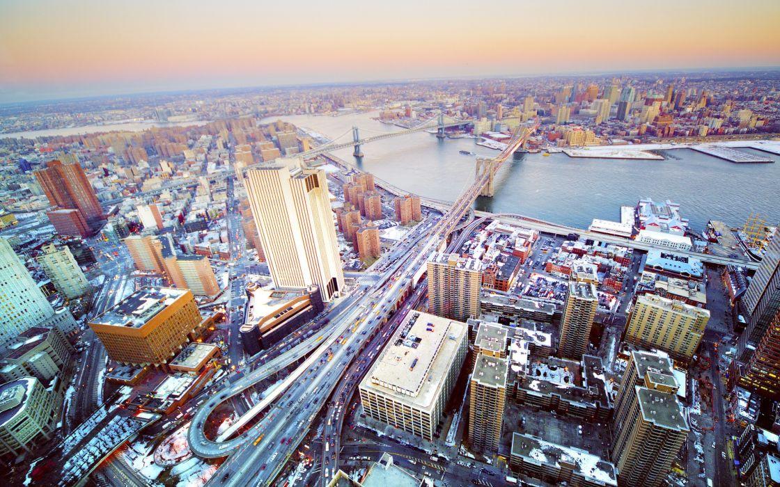 Bridges buildings new york city rivers cities wallpaper