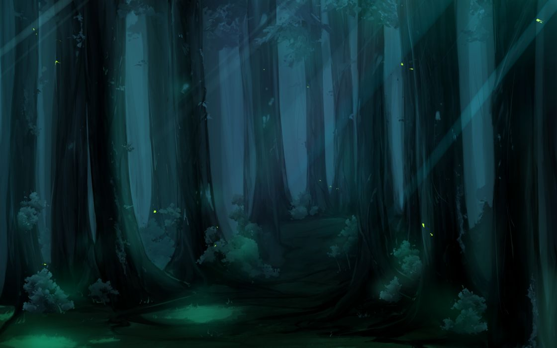 Cartoons trees forest woods artwork wallpaper
