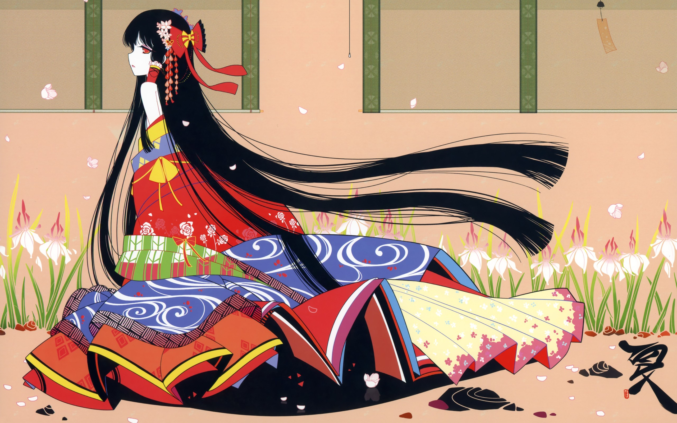 Brunettes Touhou Flowers Long Hair Kimono Plants Red Eyes