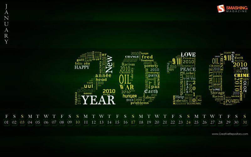 Typography calendar january wallpaper