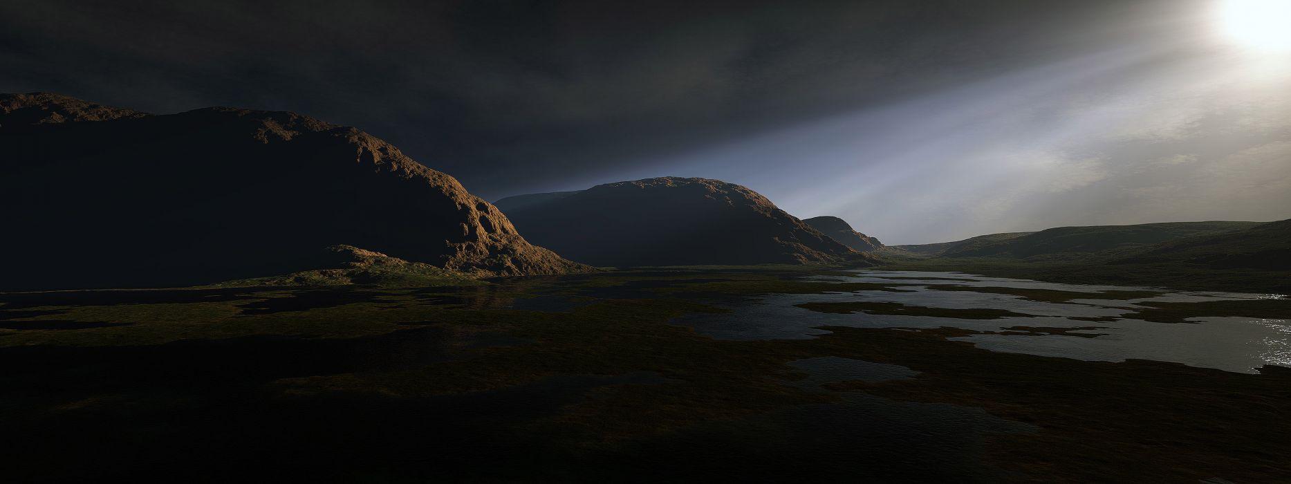 3D view landscapes hills pond wallpaper