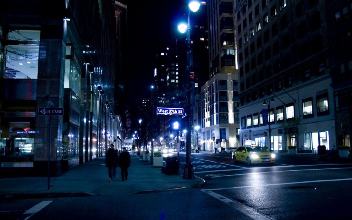 Streets night urban traffic city lights wallpaper