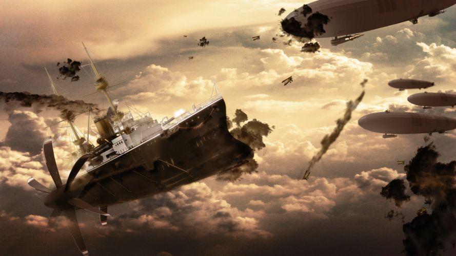 Aircraft steampunk artwork zeppelin wallpaper