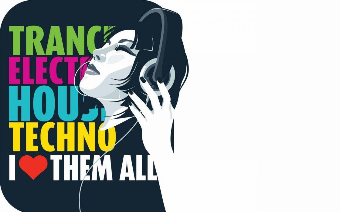 Women love text techno headphones girl electro wallpaper