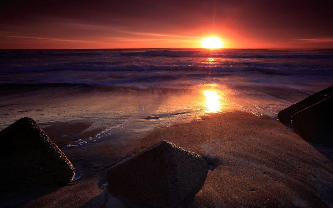 Sunset ocean landscapes nature beach sea wallpaper