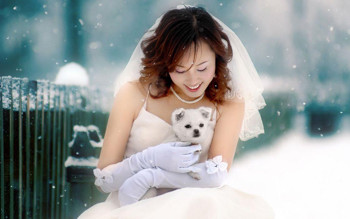 Women winter snow dogs bride asians wallpaper
