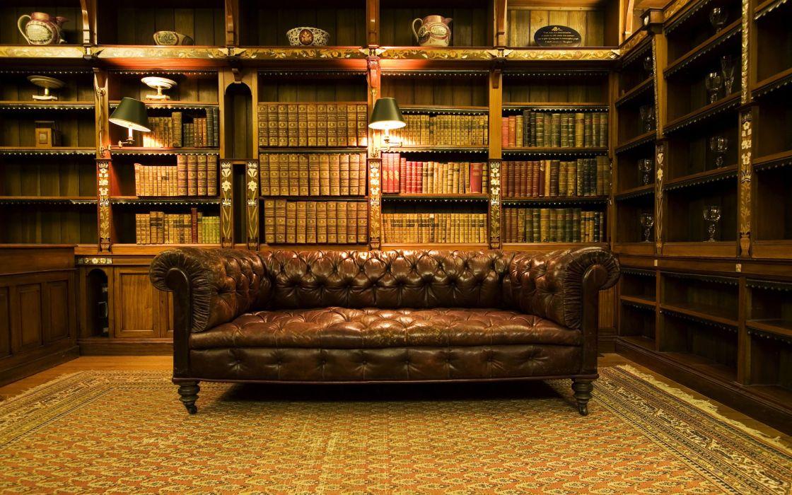 Vintage Library Interior Furniture Designs Wallpaper