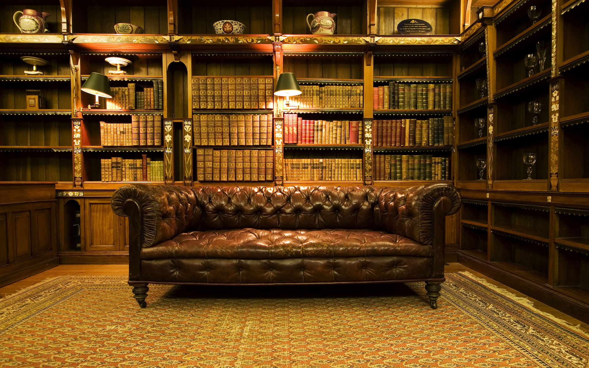 Vintage library interior furniture interior designs for Wallpaper for office room