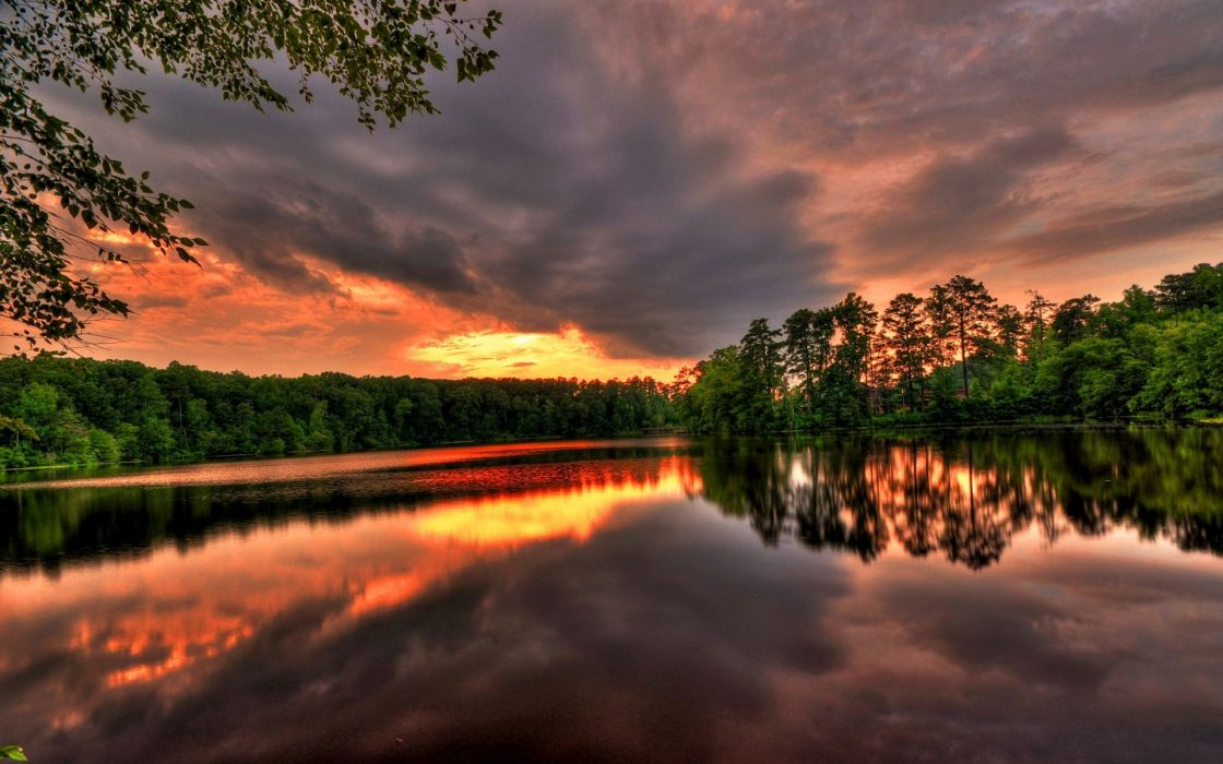 Sunset landscapes nature lakes rivers reflections wallpaper