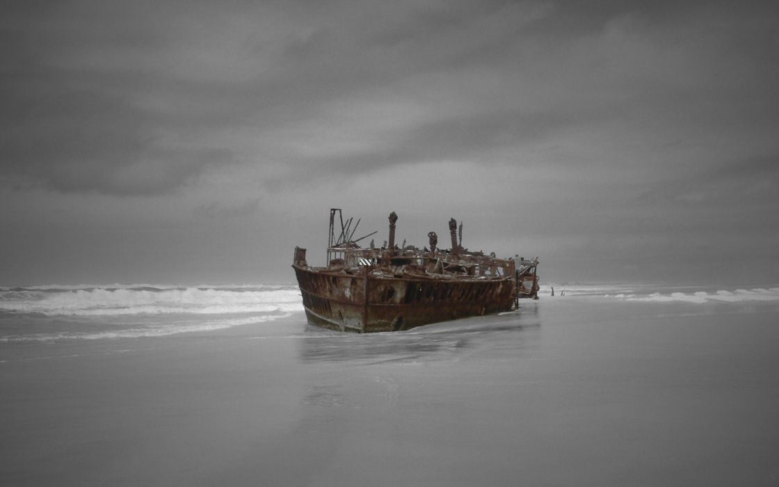 Beach ships shipwrecks vehicles wallpaper