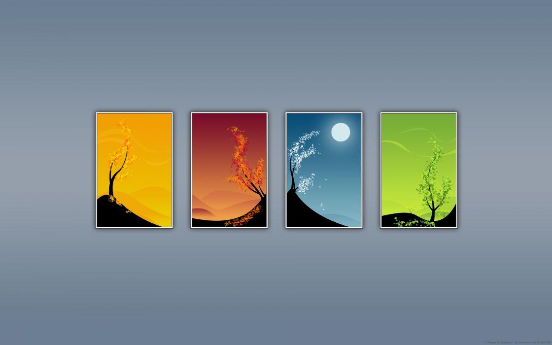 Seasons panels wallpaper