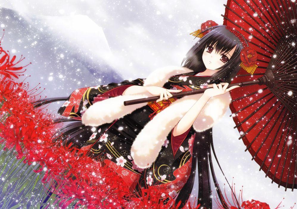 Brunettes flowers brown eyes short hair umbrellas japanese clothes anime girls hair ornaments wallpaper