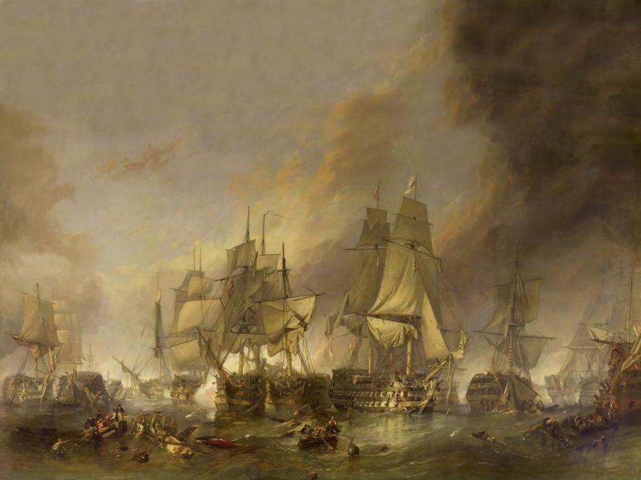Paintings sea ships pirates battles wallpaper