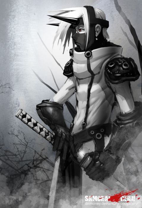 Paintings video games ninjas katana weapons illustrations fantasy art digital art artwork drawings white fox airbrushed wallpaper