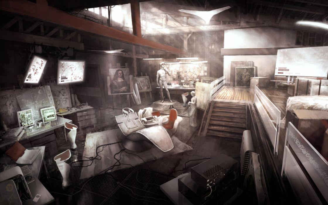 Video games assassins creed mona lisa statues artwork technic wallpaper