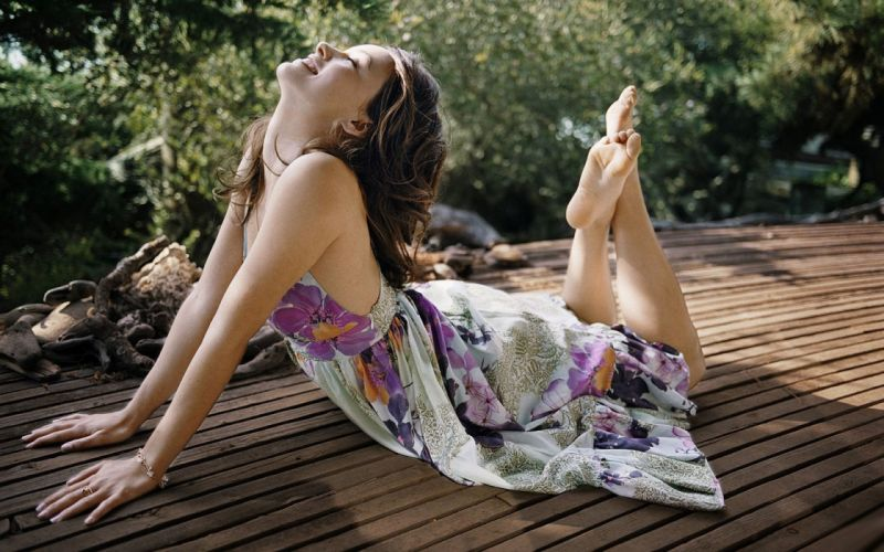 Brunettes women nature olivia wilde barefoot lying down closed eyes arched back wallpaper