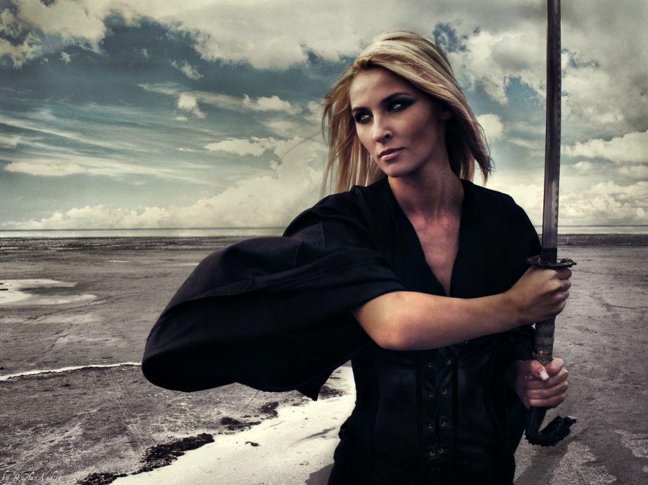 Blondes women katana samurai swords wallpaper