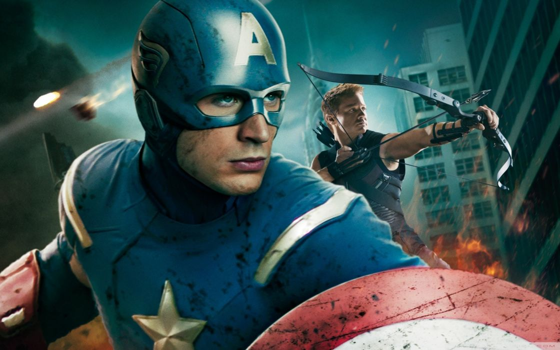 Movies captain america hawkeye chris evans clint barton jeremy renner the avengers (movie) bow (weapon) wallpaper