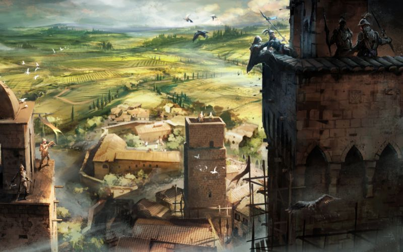 Video games landscapes assassins creed rooftops assassins creed 2 assassination ezio auditore wallpaper