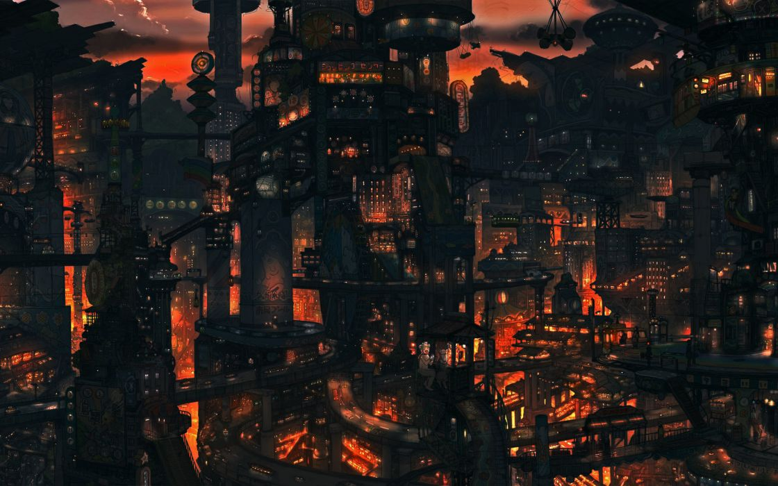 Cityscapes night buildings artwork wallpaper