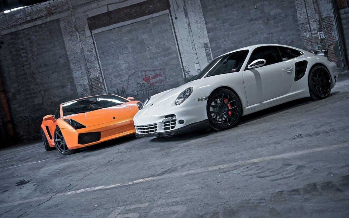 White cars orange lamborghini gallardo porsche 911 wallpaper