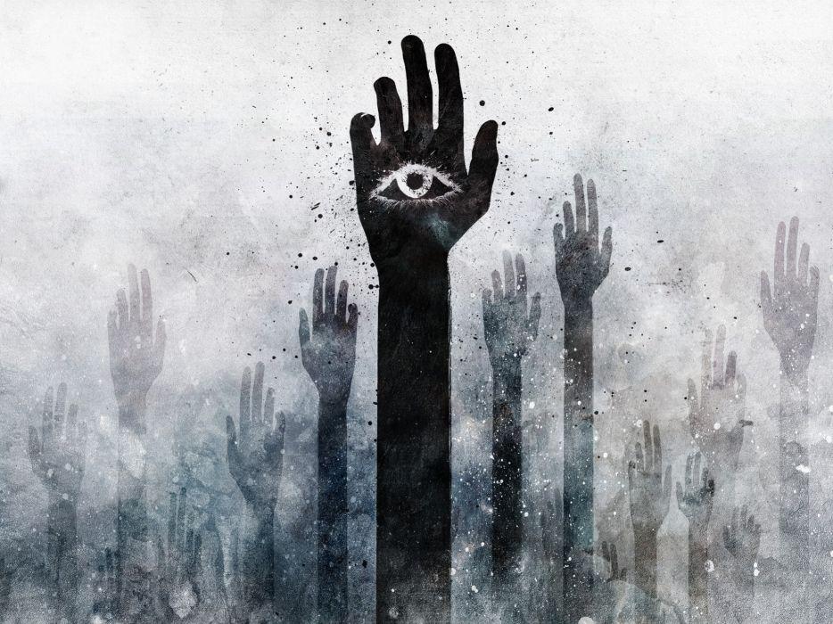 Grunge hands illuminati alex cherry arms raised wallpaper