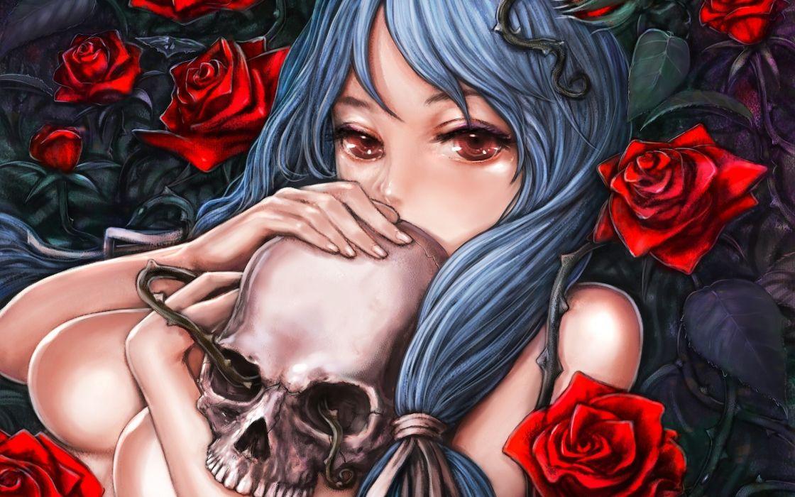 Skulls long hair anime roses wallpaper