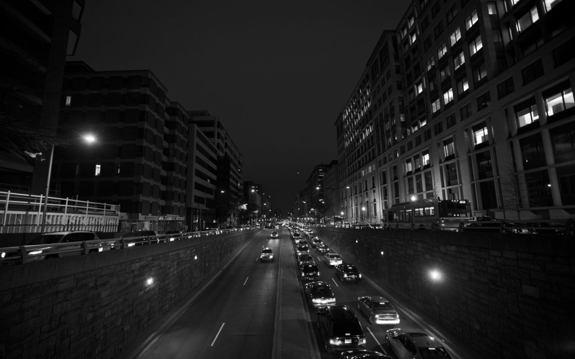 Black and white cityscapes night wallpaper