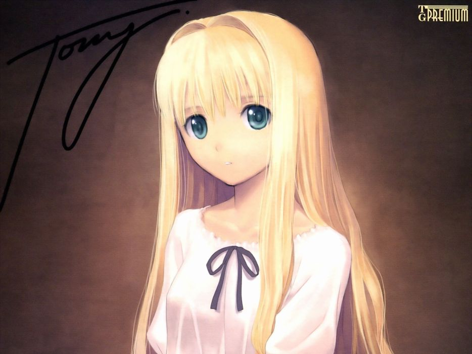 Blondes close-up tony taka text long hair ribbons green eyes signatures white dress simple background anime girls wallpaper