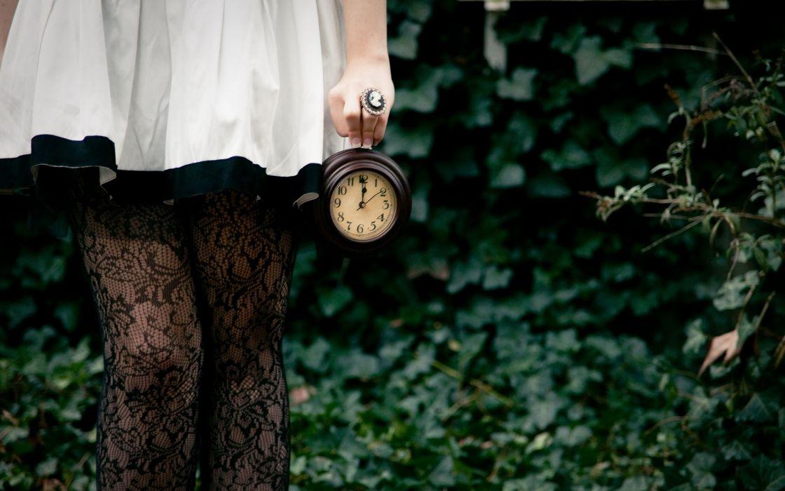 Legs women clocks white dress watches wallpaper