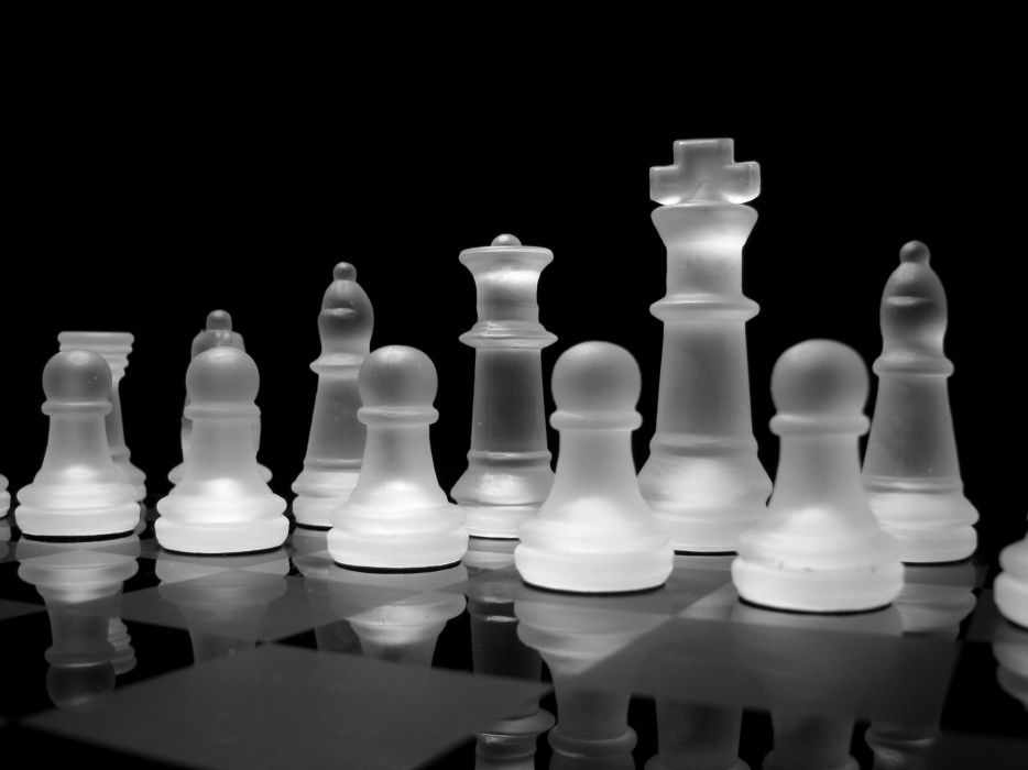 Glass chess grayscale chess pieces glass art wallpaper